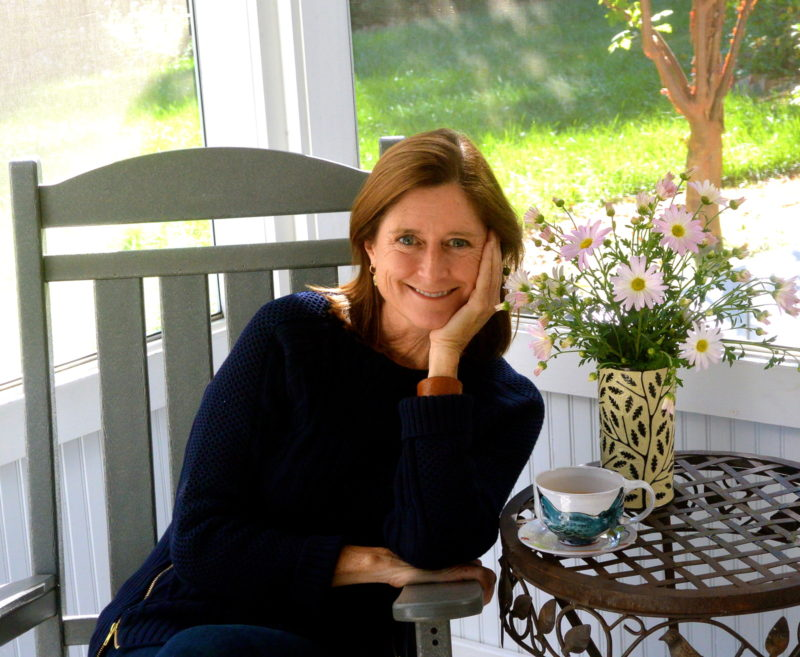 The author on her back porch