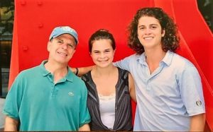 My husband Mark with Emma and Matt